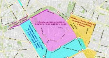 El centro de Valencia, cerrado al tráfico de vehículos particulares del 16 al 20 de marzo
