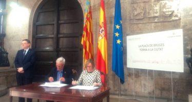 Ribó y Puig firman el Convenio que desbloquea el Aparcamiento de la Plaza de Brujas