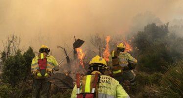 El incendio de un tractor en Vilafamés se extiende a masa forestal