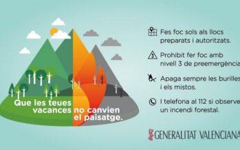 Puig pide la colaboración de toda la sociedad para prevenir incendios
