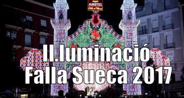 La iluminación de Sueca – Literato Azorín ya enamora en Fallas 2017