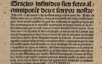 """J. Alminyana: """"Bonifaci Ferrer, valencià de sanc i de cor, traduí la seua Bíblia del llatí a l'idioma valencià"""""""