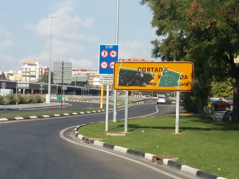Eixida a la V-30 des de la plaça d'Espanya de Xirivella, direcció al Port