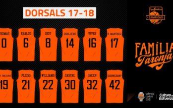 Dorsales del Valencia Basket para la temporada 2017-18