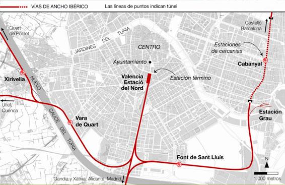 Red ferroviaria de València en 2003