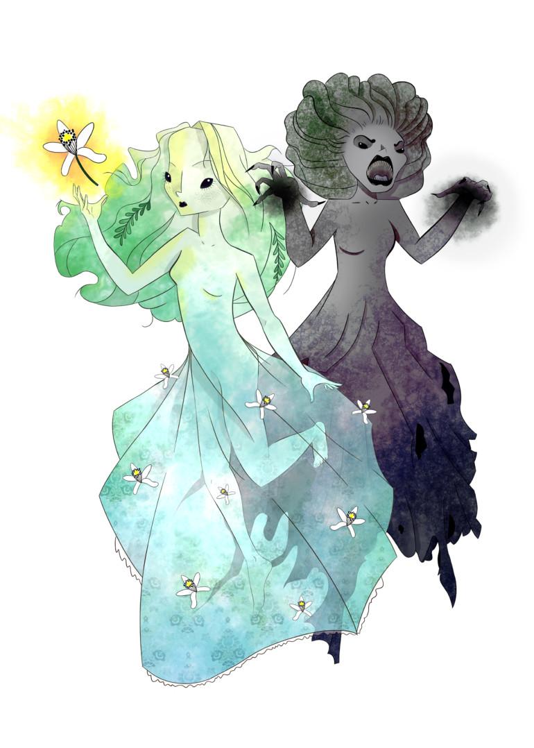 Ilustración de brujas.