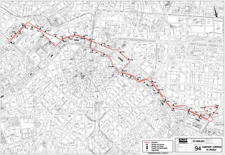 Nou itinerari de la línia 94 - EMT València