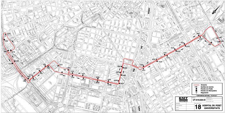 Nou itinerari de la línia 18 - EMT València