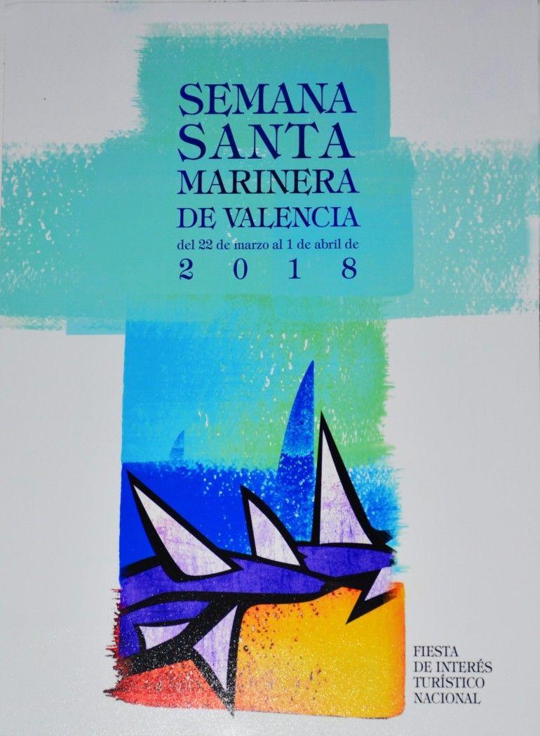 Cartel ganador del concurso de la Semana Santa Marinera 2018 .'Es vela, espina' de César Núñez Álvarez. Foto Rafa Montesinos.