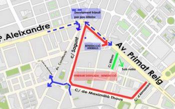 Talls de trànsit en la Saïdia per la celebració de Sant Antoni Abat