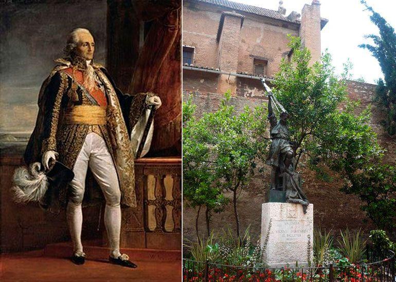 A la izquierda, retrato del Mariscal Moncey, que dirigió el asedio francés a la ciudad de Valencia. A la derecha, monumento de homenaje a Vicent Doménech, el Palleter.