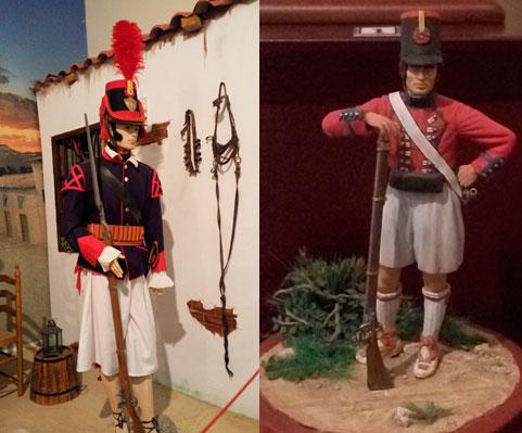 Uniformidad de los voluntarios de la Milicia del Reino de Valencia el de la izquierda en la batalla de 1808 y el de la derecha ya en 1809.(Foto del Museo Histórico Militar de Valencia).