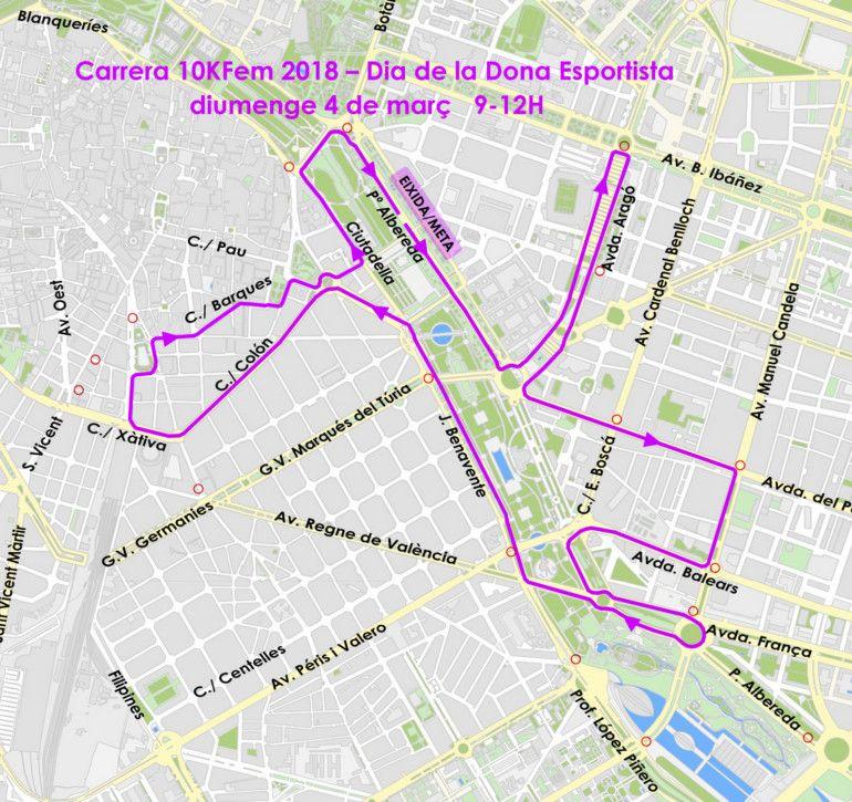 Recorrido de la 5ª Carrera 10KFem - Día de la Mujer Deportista