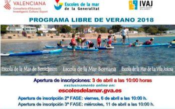 Deporte y el Ivaj convocan el Programa libre de verano 'A la Mar 2018'