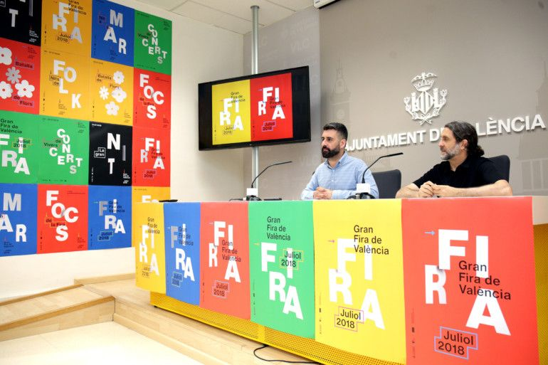 El regidor de Cultura Festiva, Pere Fuset, presenta en roda de premsa la imatge de la Gran Fira.