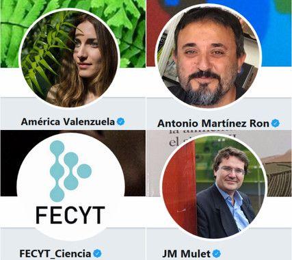 Los influencers que destacan se corresponden con los perfiles de @fecyt_ciencia, @jmmulet, @a_valenzuela y @aberron.
