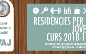 El IVAJ abre la convocatoria de plazas en las residencias juveniles para el curso 2018-19