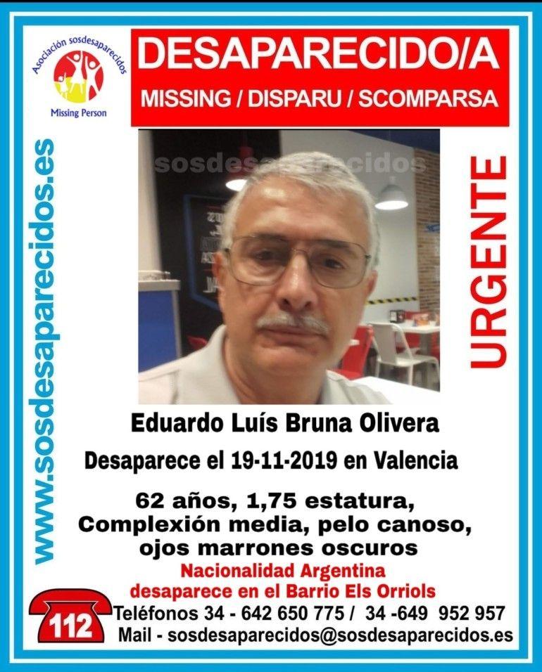 Luis Bruna Olivera desaparecido Valencia