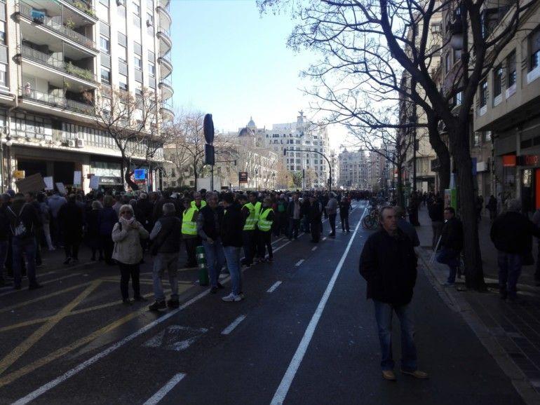 manifestación agricultores centro de Valencia