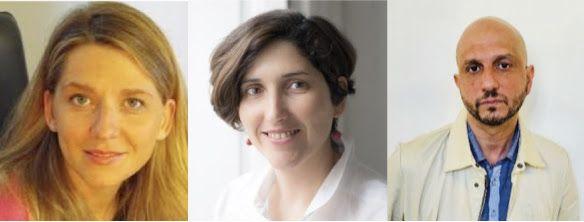 De izquierda a derecha: Laure Kaltenbach, Adriana Moscoso, Jorge Carrión